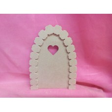 Heart window fairy door with flower arch